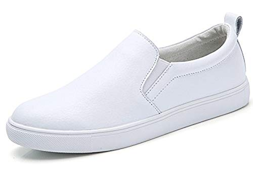 TSIODFO White Leather Nurse Shoes for Women Slip on Walking Shoes Breathable Comfort Ladies Fashion Sneakers Penny Loafers Size 7 (505-White-37)