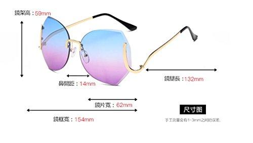 moda sol sol gafas Gold degradado LSHGYJ gafas sol blue de de Sin GLSYJ frame cerco recortar bastidor personalidad gradient grande gafas de xzBpqw