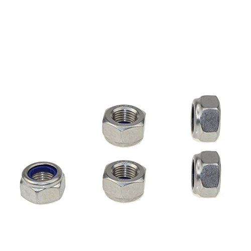 304 Stainless Steel Hex Nut Nylock Locknuts A2-70 (5, M14-Fine Pitch 1.5) by Honestb