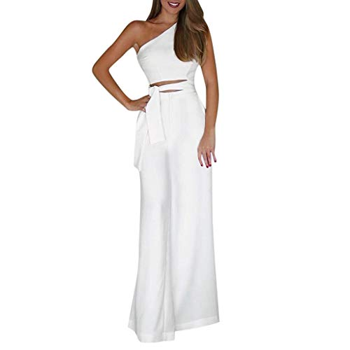 Casual Jumpsuit Rompers Off Shoulder Sleeve Hollow Out Sexy Women Bodycon  Long Jumpsuit Rompers Wide Long Pants White