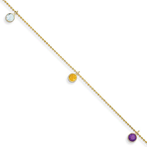 - 14K Yellow Gold 9 Inch Multi-colored Gemstone Anklet 1 mm 9 in Anklets with Stations Anklets Jewelry