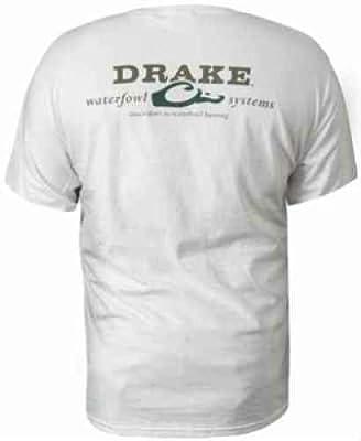 Drake Waterfowl T-Shirt White with Logo - Short Sleeve (Large)
