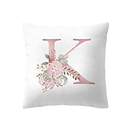 ADESHOP Zippered Pillow Case Cover, Alphabet Pattern printing Cushion Covers Throw Pillow Covers Cases for Couch Sofa…