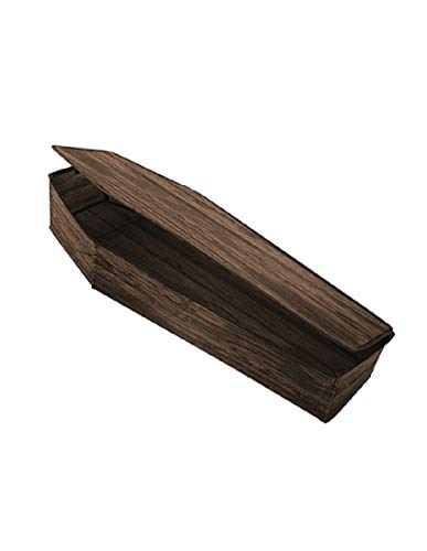 Collapsible Faux Wooden Grain Fabric Coffin With Lid Halloween Decoration Prop]()