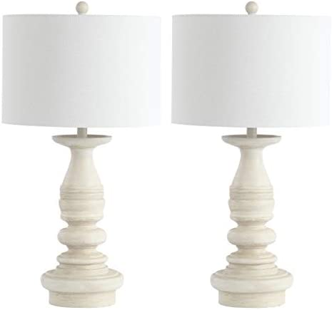 Safavieh TBL4183A-SET2 Lighting Jareth White Wash 29-inch (Set of 2) -LED Bulbs Included Table Lamp