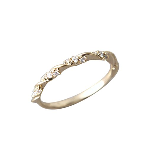 Gyoume Gold Sliver Plated Rings Women Diamond Rings Wedding Engagement Jewelry Gift Valentine's Days Gifts (06, Gold) -