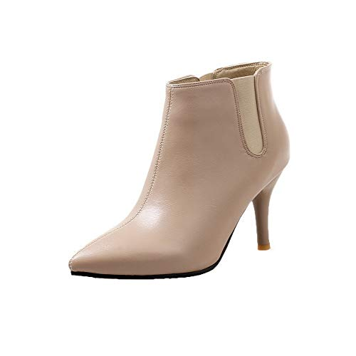 WeenFashion Women's Ankle-High Pull-On Pu High-Heels Closed-Toe Boots,