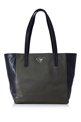 PRADA Shopping Soft Calf Leather Br5109 Black/Dark Green Tote Bag (Prada Soft Handbag)