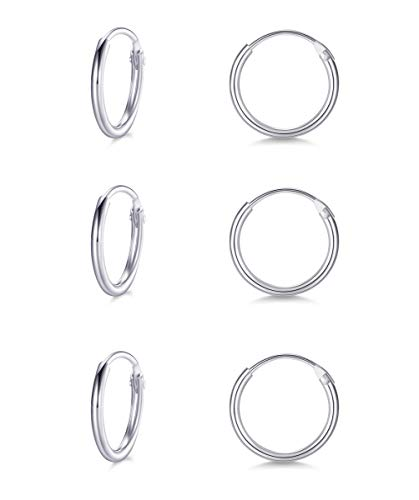 Small Cartilage Hoop Earrings for Women Men Girls- 3 Pairs of Hypoallergenic Sterling Silver Endless Tiny Hoop Earring Set Tragus Piercing Earrings (8mm/10mm/12mm)
