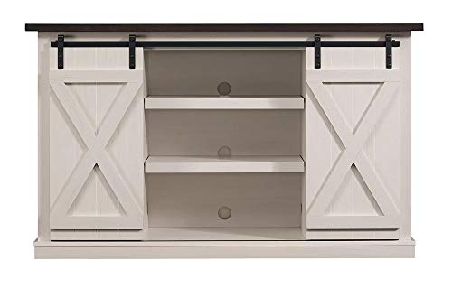 Pamari TC54-6127-TPG03 Wrangler Sliding Barn Door TV Stand, Off-White