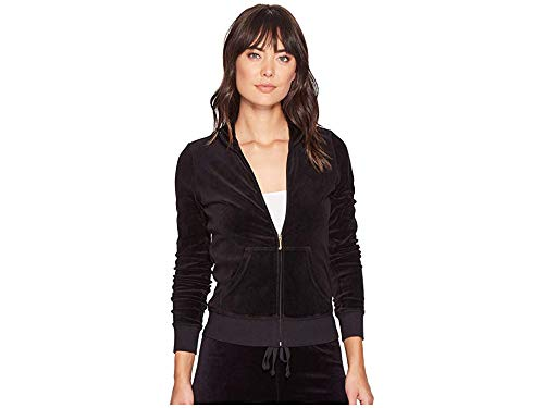 Juicy Couture Black Label Women's Velour Fairfax Fitted Jacket, Pitch Black, S