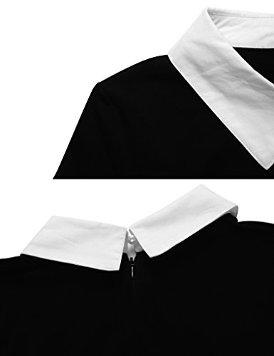 Aphratti Women's Long Sleeve Casual Peter Pan Collar Flare Dress Black Medium by Aphratti (Image #3)