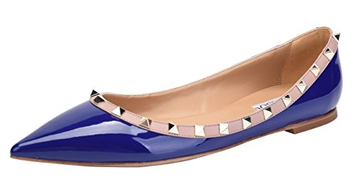 Camssoo Donna Rivetti Classici Punta A Punta Slip On Comfort Flats Dress Pumps Shoes Dk Blue Patant Pu