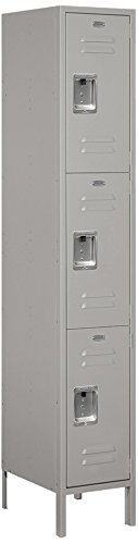 Salsbury Industries 53168GY-U Triple Tier 15-Inch Wide 6-Feet High 18-Inch Deep Unassembled Extra Wide Standard Metal Locker, Gray -