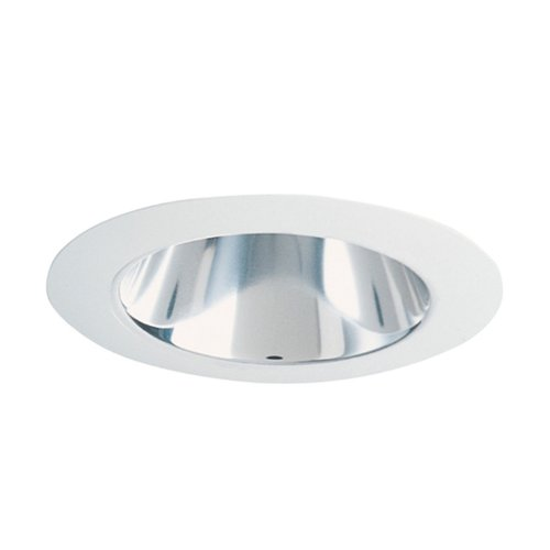 Juno Lighting 442C-WH 4-Inch Deep Cone Recessed Trim, Clear Alzak with White Trim