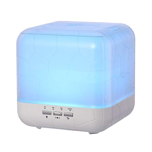 1000ml Large Square Essential Oil Diffuser Humidifier,Modern Decor Aroma Diffusers,Smart Auto control with 7 Color Chang Light and Adjust Mist,Waterless Auto Off&4 Timer for Big House,Room,Office