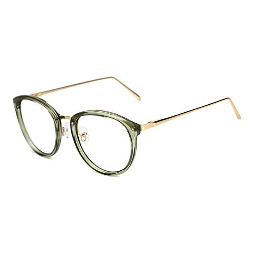 (TIJN Vintage Round Metal Optical Eyewear Non-prescription Eyeglasses Frame for Women ((Non Blue Light Block) Clear Green,)
