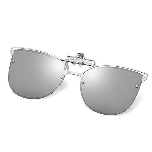 (Polarized Clip-on Sunglasses Anti-Glare UV400 Metal Clips Cateye Style Sunglasses Over Prescription Glasses (Silver))