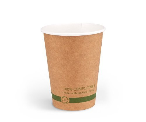 World Centric's 100% Biodegradable, 100% Compostable Paper PLA-Lined 8 Ounce Coffee Hot Cup in KRAFT (Package of 200) from World Centric