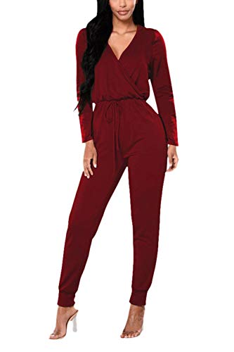 Sleeved Romper Set - Women Clothing 1 PC Party Jumpsuit Long Sleeve V-Neck Top Long Pant Set Red M