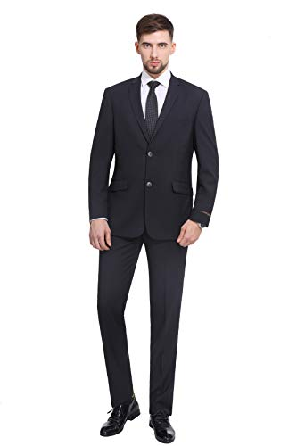 P&L Men's 10-colors Slim Fit Two-piece Single Breasted 2-button Suit Jacket Pants Set,Charcoal,40 Regular / 34 Waist