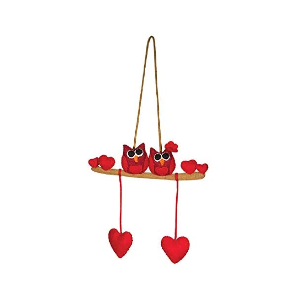 Two Love Owls on Tree Branch Red Hearts Theme – Wall Hanging Decor Kids Baby Crib Mobile – Handmade 100% Natural Felted Wool