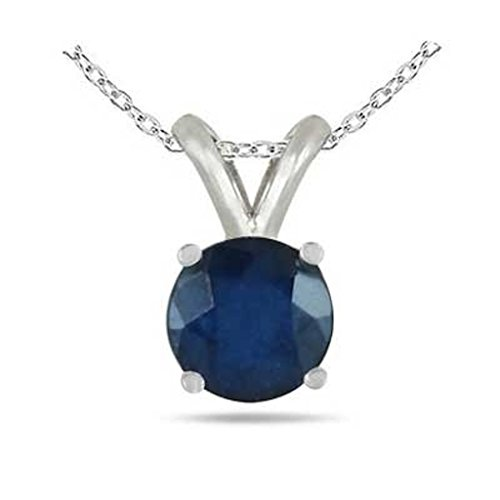0.25Ct Round Sapphire Pendant in Sterling (0.25 Ct Pendant)