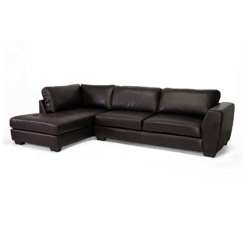 Baxton Studio Orland Leather Modern Sectional Sofa Set with Left Facing Chaise, Brown