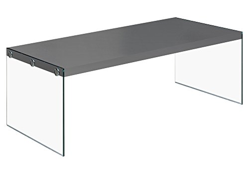 Monarch specialties  I 3292, Coffee Table, Tempered Glass, Glossy Grey , 44