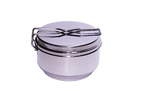 Portable Camp Cook Pot, Frying Pan, Double Boiler w/ 1 Serving Food Storage. Stainless Steel with Locking Lid, Perfect for Survival Kits, Camping, Preppers and Emergency Preparedness by QuickStove