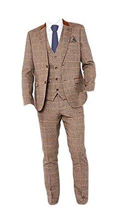 official photos 351c2 375bf marc darcy Herren Vintage Tweed Kariert Dreiteiliger Anzug ...