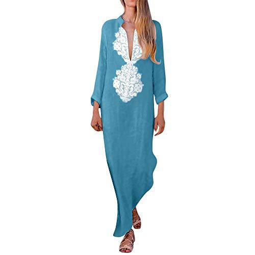 (Womens Long Sleeve KIKOY Fashion Printed V-Neck Maxi Dress Hem Baggy Long Dress)