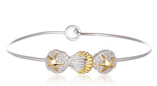 925 Sterling Two Tone Seashell & Starfish Bangle Bracelet