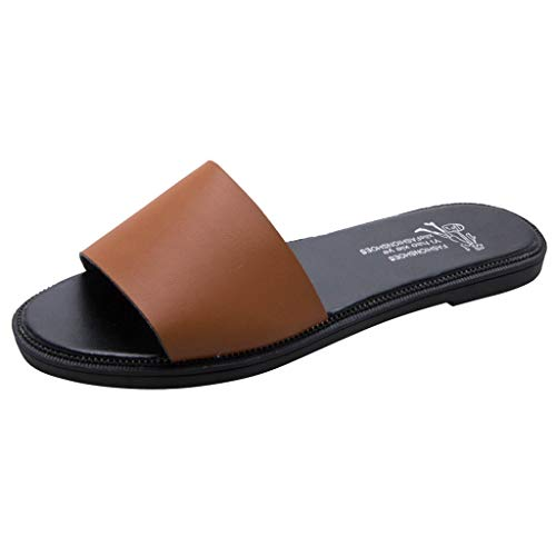 - TOTOD Slippers Women Open Toe Fashion Leisure Beach Walk Flats Soild Color Shoes Brown