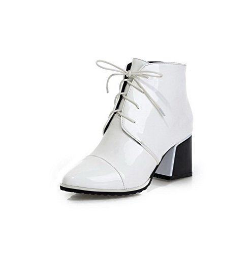 AllhqFashion Womens Low-Top Solid Lace-Up Pointed Closed Toe Kitten-Heels Boots White eyXO2w