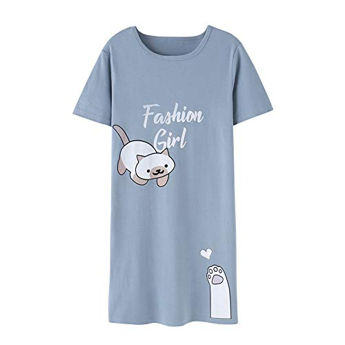 Big Girls Nightdress -Loose Sleepwear Short Sleeve Pajamas/Nightgown Cute Cat Sleepwear/Nightie Teenager Size 12-16 (XL=Size 16, Blue)