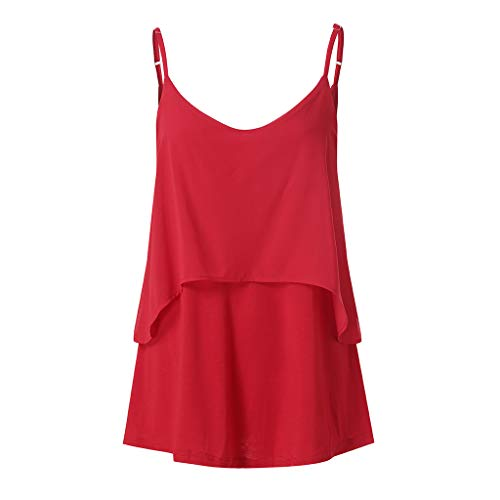 2019 Women Sexy V Neck Sleeveless Camis Summer Tank Tops Patchwork Casual Blouses (Red, XL) by Tanlo (Image #6)