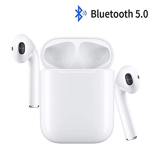 Wireless Earbuds,Bluetooth Headphones Mini in-Ear Headsets Sports Earphone with True Wireless Earbuds and Built-in Charging case Compatible with Android,iOS/iPhone (White)