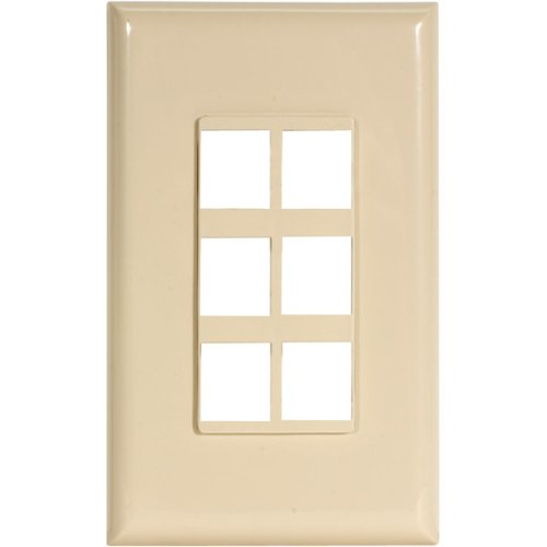 Channel Vision Ivory Single (6-JACK Decora Plate)