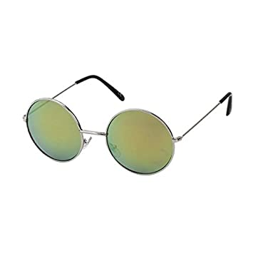 74daa2f7d34 Sunglasses Round glasses John Lennon Style 400 UV metal mirror colorful  yellow