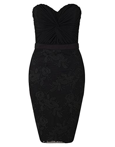 Lipsy Mujer Vestido Ajustado Bodycon Con Falda Bordada Escote Palabra De Honor Negro