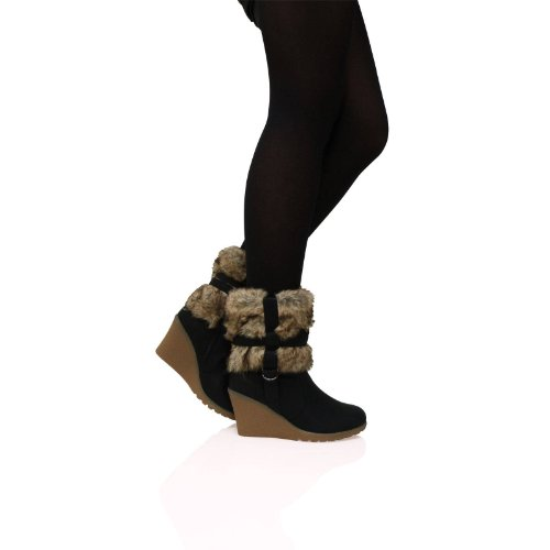 Feet First Fashion A5A Womens Ladies Wedge Faux Fur Lined Zip Up Ankle Warm Boots Womens Shoes Black SNbN3q7