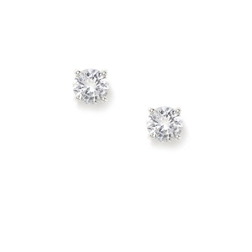 Claire's Accessories Girls Sterling Silver 5MM CZ Round Stud Earrings
