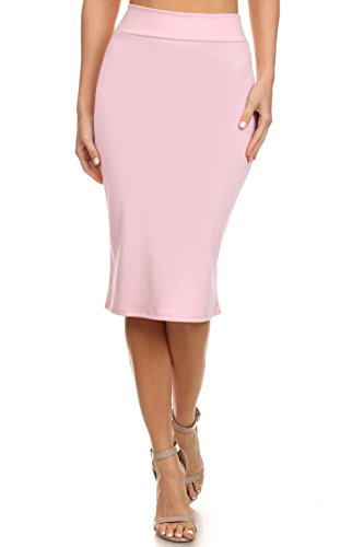 (Women's Below the Knee Pencil Skirt for Office Wear - Made in USA ,Light Pink ,Large)