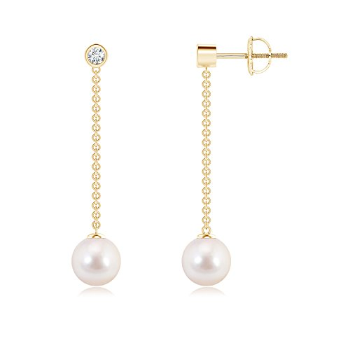 Akoya Chain Earrings (Cyber Monday - Long Dangling Akoya Cultured Pearl Chain Earrings for Women with Diamond in 14K Yellow Gold (7mm Akoya Cultured Pearl))