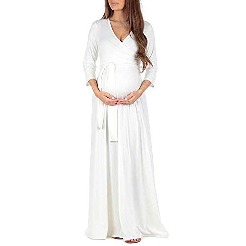 Pregnant Leey puro colore prémaman donna longuette Gonna premaman di regolabile per Donna multifunzionale cintura Bianco Vestito Abito Maternità con XdIxXTrq