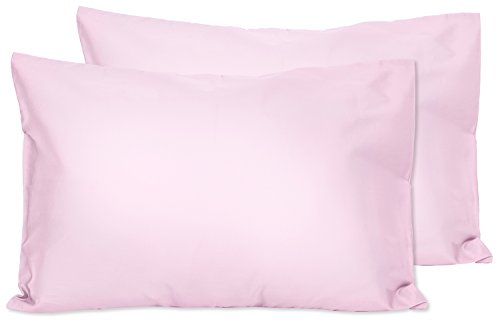 2 Light Pink Toddler Pillowcases - Envelope Style - For Pillows Sized 13x18 and 14x19 - 100% Cotton With Percale Weave - Machine Washable - 2 Pack by Zadisonjaxx