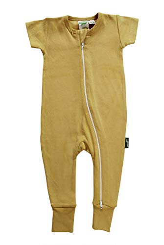 (Parade Organics Essential Basics '2-Way' Zip Romper - Short Sleeve Mustard 3-6 Months)