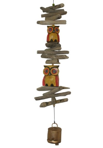 Cohasset Gifts | | | # 618 Wind Twin Oscar Owl Cohasset Bell |, Yellow and Red Distressed Finish | For Sale