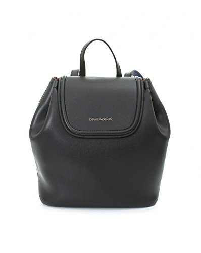 Emporio Armani Women's Eco Leather Backpack Black/Leather/Royal Blue One Size by Emporio Armani